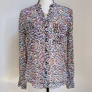 BCBG Silk Anderson shirt multi color leopard S
